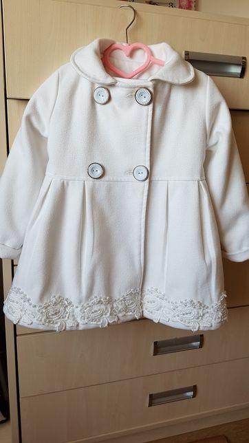 Пальто біле кашемірове для дівчинки