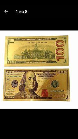 100 Долларов золотая фольга