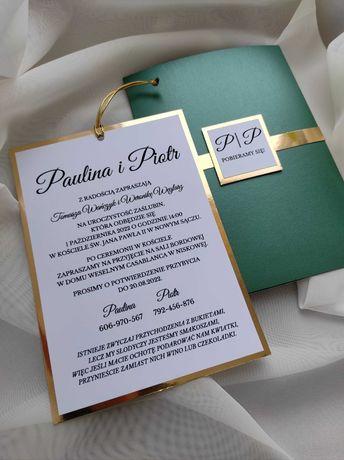 Zaproszenie na ślub eleganckie butelkowa zieleń złoto biel