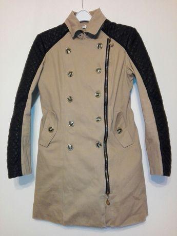 M beżowy płaszcz przejściowy damski dwurzędowy+zamek