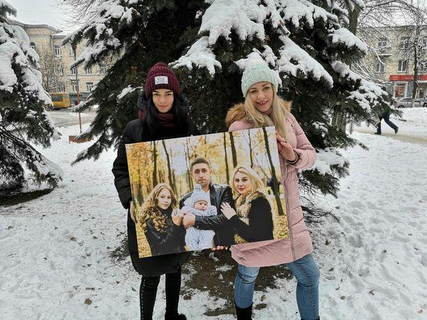 Семейный портрет на холсте.Фотокартина. Коллаж. Подарок на новый год