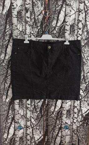 Spódnica jeansowa czarna kieszenie wysoki stan plus size 50/22