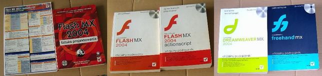 Flash ActionScript Dreamweaver Freehand -zestaw 5 książek + tablica AS