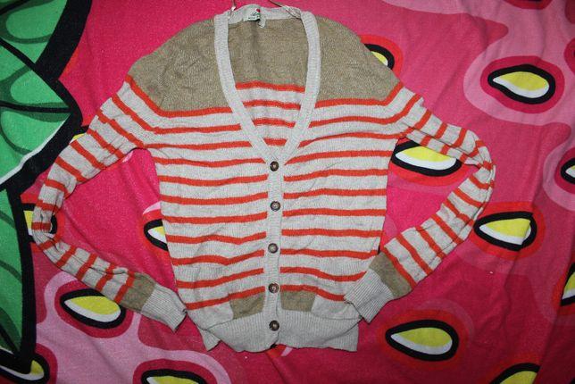 Кардиган кофта свитер в полоску бежевый xs-s