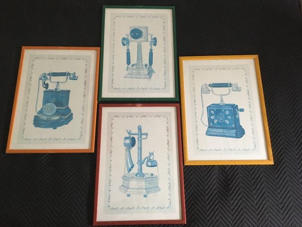 4 Quadros/Gravuras/Ilustrações telefones antigos - Vintage