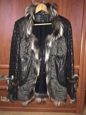 Кожаная куртка, курточка с мехом , чернобурка, осенняя, весенняя, деми