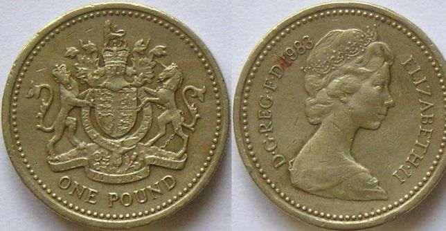 монета Елизавета 2, 1 фунт 1983