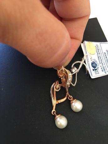 Сережки золотые жемчуг бриллианты КЮЗ серьги