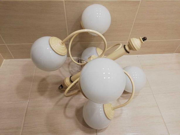 Lampa wisząca żyrandol 6 kul mleczno białych