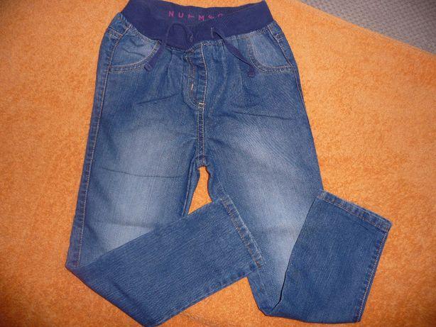 spodnie jeansowe dla dziewczynki 5-6 lat 110/116+rajtuzy