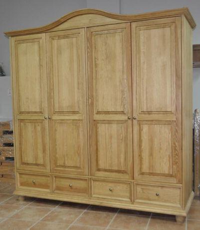 Szafa 4 drzwi, drewniana szafa z łukiem olejowana, szafa z szufladami