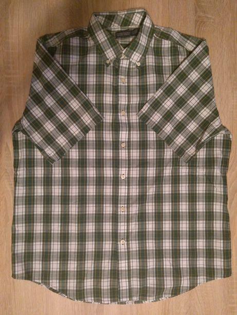 L Koszula męska z krótkim rękawem zielona krata kratka wzór wzorzysta