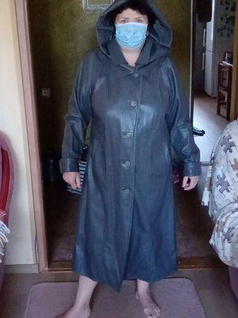 Продам плащ кожаный серокоричневый женский