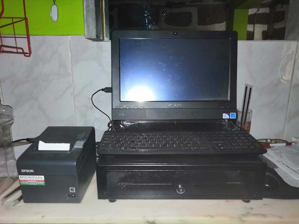 Computador com caixa registadora e impressora de Factura
