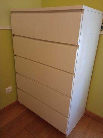 Comoda Ikea Branca Malm 6 gavetas