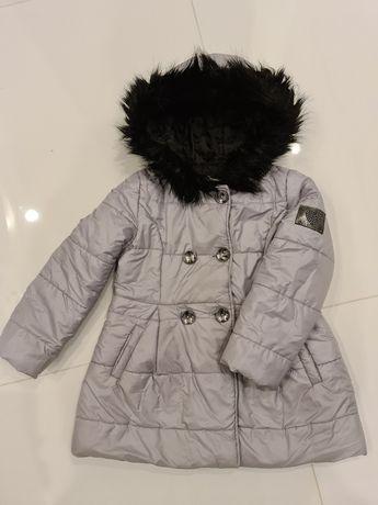Zimowy płaszczyk rozmiar 122 kolor szary
