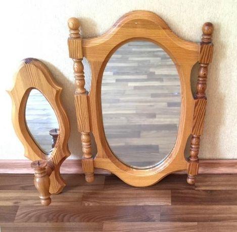 зеркало настенное с рамой из дерева 56 x 37 и 44х16