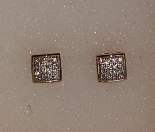 Kolczyki Apart złote brylanty diamenty 0.10 ct