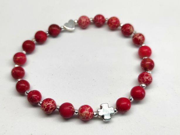 Bransoletka różaniec na rękę na gumce - czerwony, odcienie czerwieni