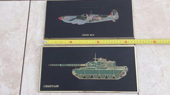 Dwa Stare Obrazki Angielskie - Samolot Czołg, Manufaktura, Obraz