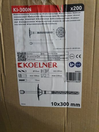 Koelner Łącznik kołki styropianu długa strefą rozporu 10x300 dybel