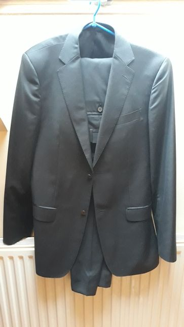 ALBIONE włoski Elegancki garnitur ciemny grafit 194 cm