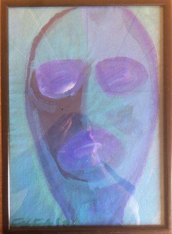 Andrzej FOLFAS obraz TWARZ 1982 Sygnowany Sztuka Neoekspresjonizm