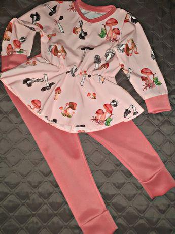 Костюм блузка с баской и лосины на рост 86-92-98