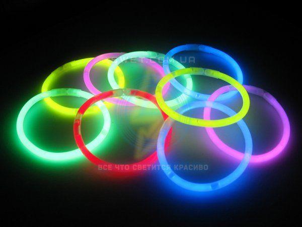 Неоновые светящиеся браслеты (100шт, 5 цветов микс) АКЦИЯ очки подарок