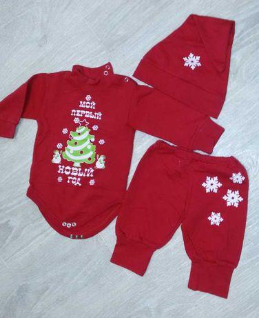 Новогодний бодик, костюм для малыша 0-3 месяца