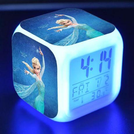 Светодиодные часы, будильник, светильник Эльза