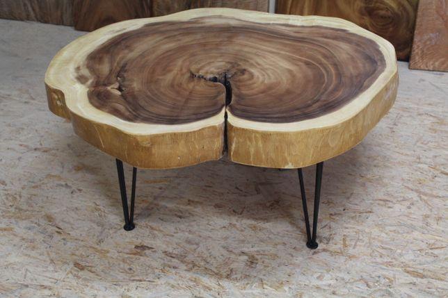 Ława, stół, stolik, okrągły, suar, stalowe nogi drewno drewniany