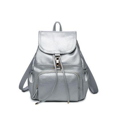 Рюкзак женский кожаный цвет серебро.