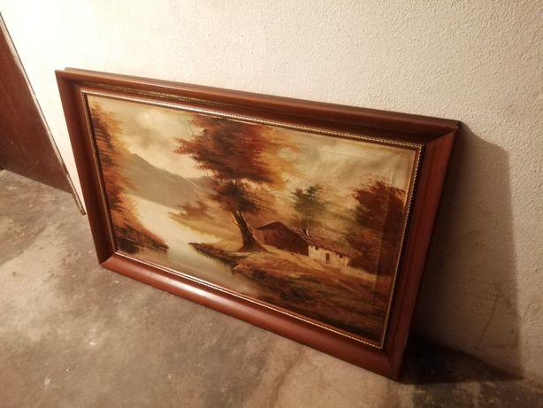Quadro grande de madeira com pintura a óleo