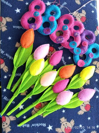 Тюльпан 8 Марта березня вісім восемь подарок фетр декор