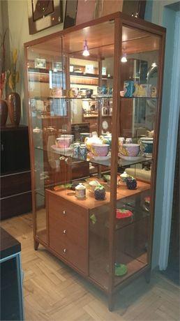 Witryna 100cm cała przeszklona z lustrami i szklanymi półkami z WŁOCH