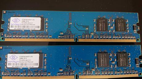 2x Pamięć RAM NANYA NT256T64UH4A0FY-37B 256MB PC2-4200 DDR2