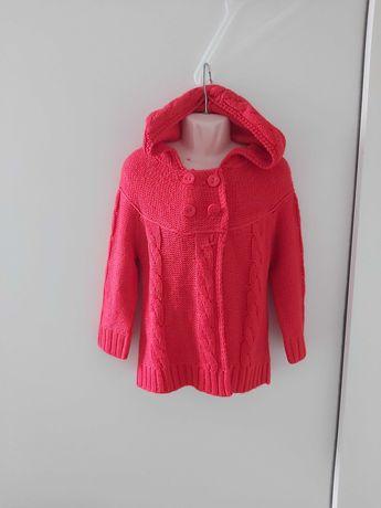 Sweterek dziewczęcy kaptur  98-104 cm 3-4 latka
