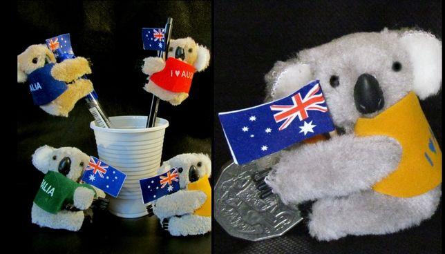 Koala maskotka przypinka zabawka Australia, Australijskie 50 centów.