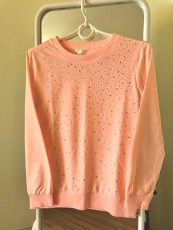 Dziewczęca neonowa różowa bluza z cekinami