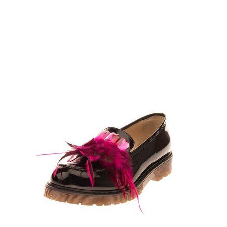 Туфли лакированная кожа с перьями и стразами S.40 made in Italy