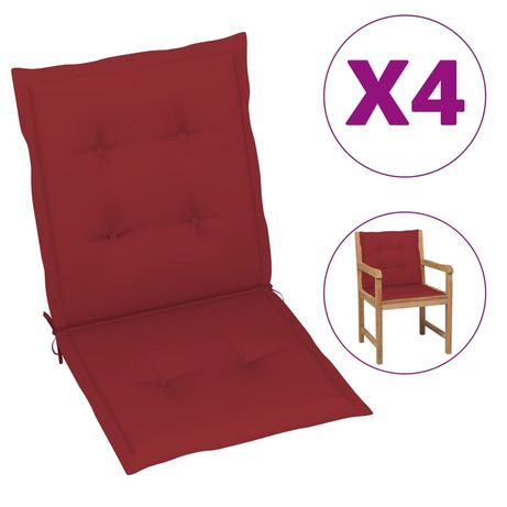 vidaXL Almofadões p/ cadeiras jardim 4 pcs 100x50x4 cm vermelho tinto 314141