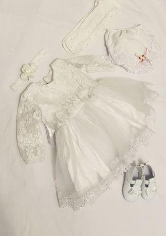 Sukienka do chrztu dla dziewczynki r. 62 zestaw do chrztu bloomersy