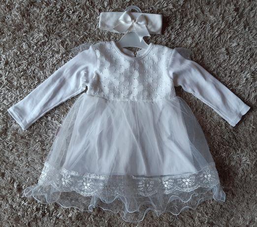 Sukienka biała + opaska na chrzest