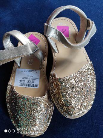 Sprzedam skórzane sandałki dla dziewczynki roz. 27 wkładka 17 cm