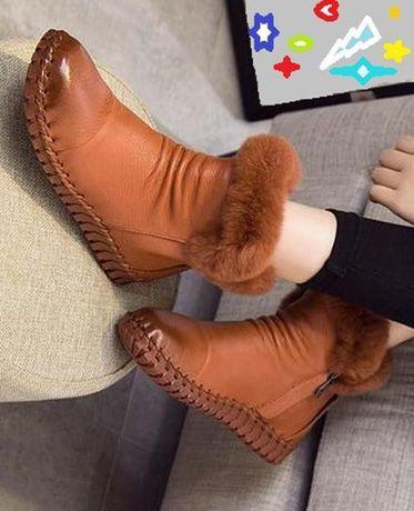 Ботинки женские ручной работы. Натуральная кожа, мех кролика. Разм.38