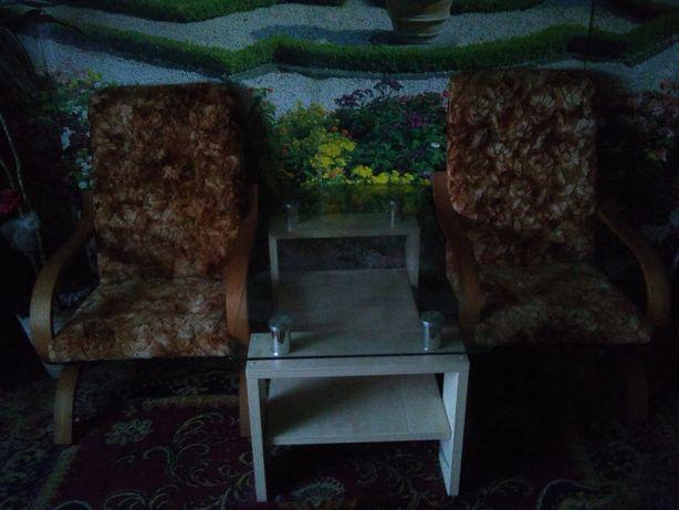 Fotele typu Finka + szklana ława