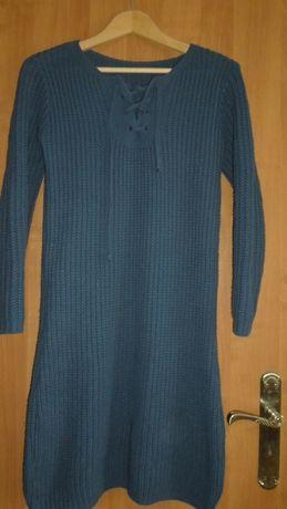 Tunika/sukienka wełniana z wiązaniem na dekoldzie roz. M, L, XL