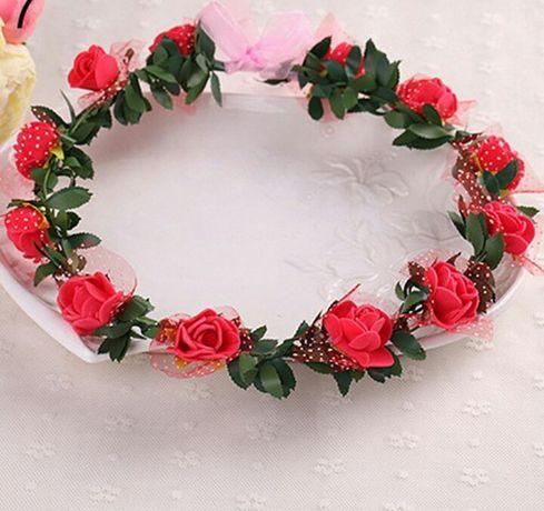 Wianek czerwone kwiaty , wianuszek śliczny karnawal NOWY