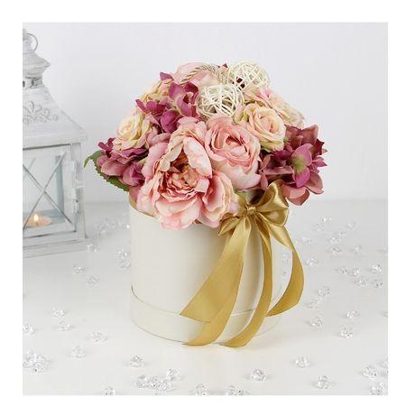 BUKIET w kremowym pudełku FlowerBox MIX kwiatów satynowych Dzień Babci